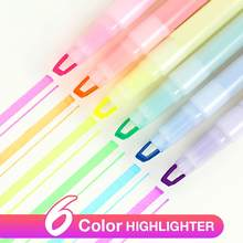 6 stks/set Highlighter Pennen Voor School Kantoorbenodigdheden Dubbele Headed Fluorescerende Pen Milkliner Pen Marker Pen Kleur Mark Pennen(China)