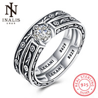 INALIS 2017 New Collection 925 Sterling Silver Brilliant Stackable Ring Clear Round CZ Ring Fine Women