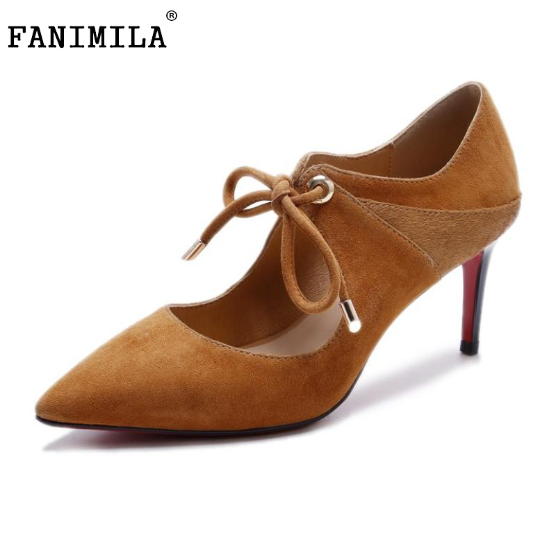 Women's New Genuine Leather High Heels Shoes Women Cross Strap Thin Heels Pumps Pointed Toe  Ladies Shoes Footwear Size 34-39 ladies real leather pumps shoes women pointed toe cross strap gladiator shoes fiork nude color sexy female footwear size 34 40