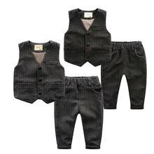 Ребенок мужского пола костюм жилет установить полоса жилет западного стиля брюки twinset ребенка весной детская одежда