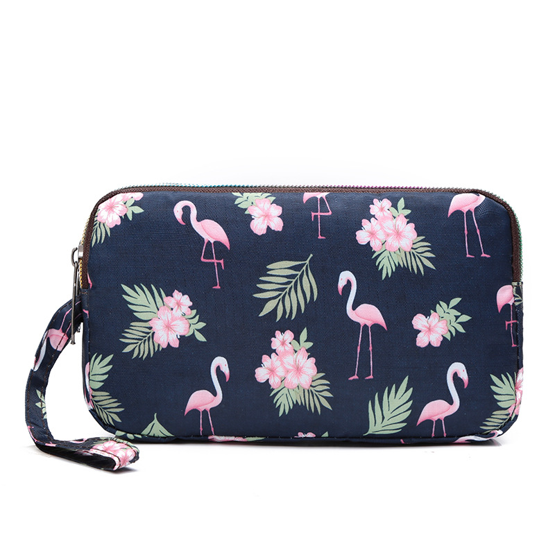 Print Flamingo Day Clutch Women Nylon Clutch Bags Ladies Light Flap Phone Pack Wristlet Money Bag Female Small Handbags