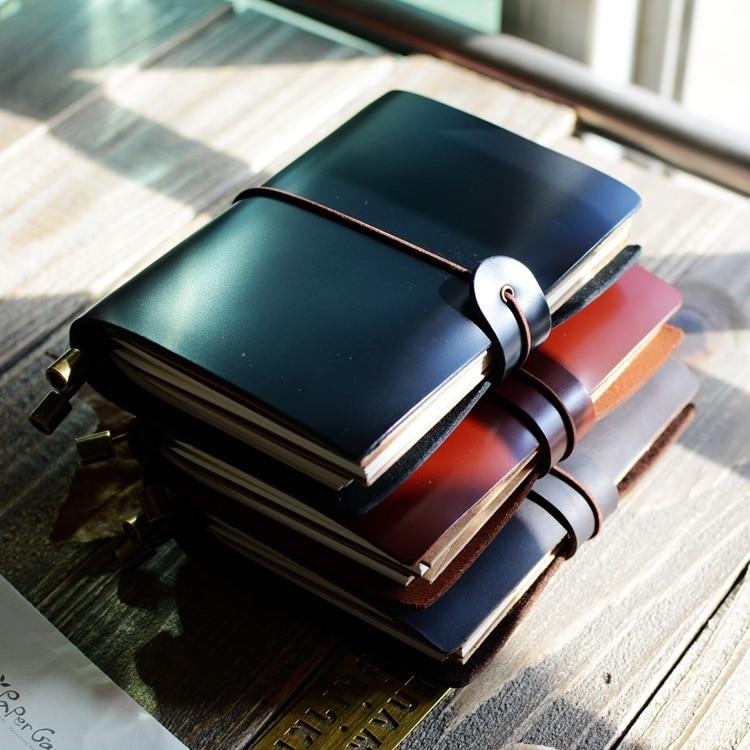 K&KBOOK Vintage Business Cowhide Genuine Leather Notebook A7 Pocket Handmade Retro Traveler Notebook Diary Refillable Journal