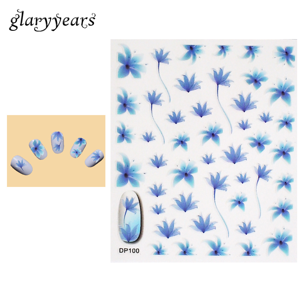 1 piece blue hyacinth flower pattern design nail art sticker beauty women manicures tool nail care sticker party gift 2018 dp100