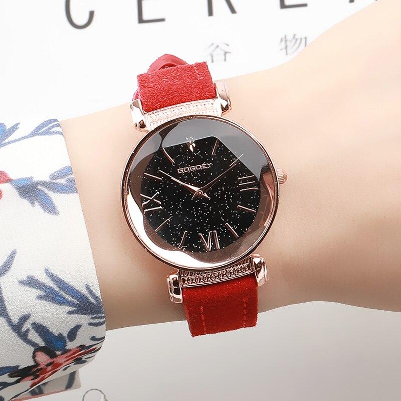 Rose Gold Star Dial Design Leather Strap Quartz Watch 1