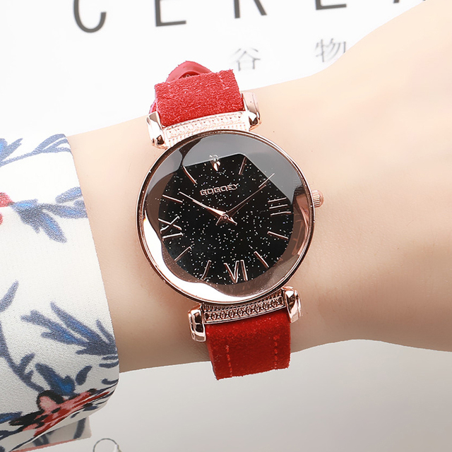 New Arrival Luxury Women Watches Fashion Dress Ladies Watch Rose gold Star dial Design Leather Strap Quartz Watch Clock Women 1