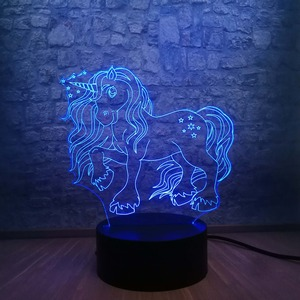 Image 3 - New Kawaii Unicorn Star 3D LED Lamp 7 Colors Change Home Night Light Multicolor RGB Bulb Room Decorative Child lamp Kids Toys