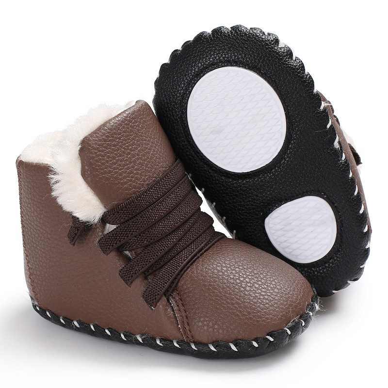 Infant Toddler Newborn Kids Girls Boys Winter Warm PU Crib Bebe Snowfield Soft Rubber Baby First Walker Shoes
