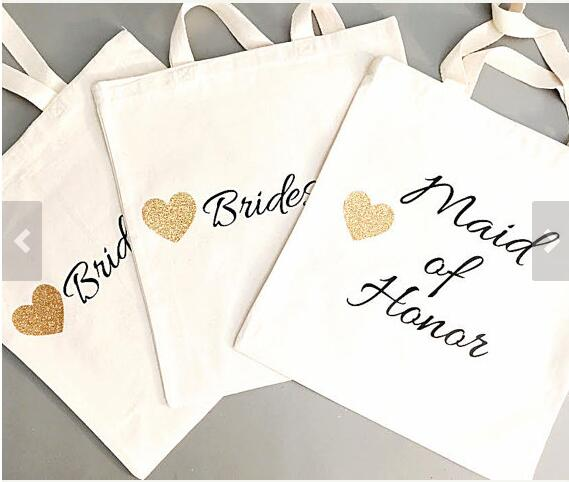 Bridesmaid Gift Bag Personalized Bridal Party Gold White Hand Glitter Tote Bags Names Champagne