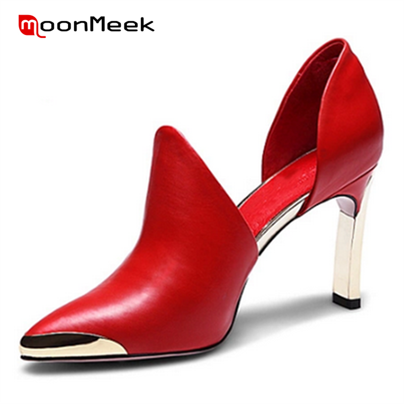 MoonMeek Wedding shoes genuine leather red black metal decoration pointed toe high heels european and american style women pumps dreambox simple european and american sports leather retro style hand made coarse shoes casual shoes