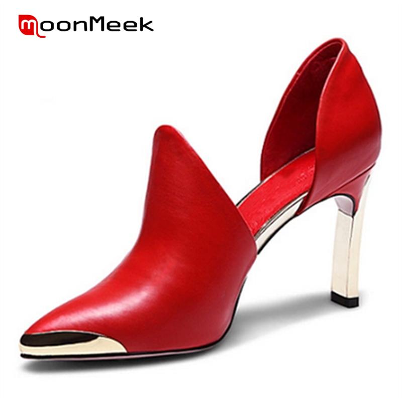 все цены на MoonMeek Wedding shoes genuine leather red black metal decoration pointed toe high heels european and american style women pumps онлайн