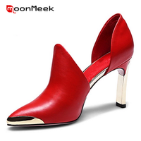 Hot Wedding Shoes Genuine Leather Red Black Metal Decoration Pointed Toe High Heels European And American