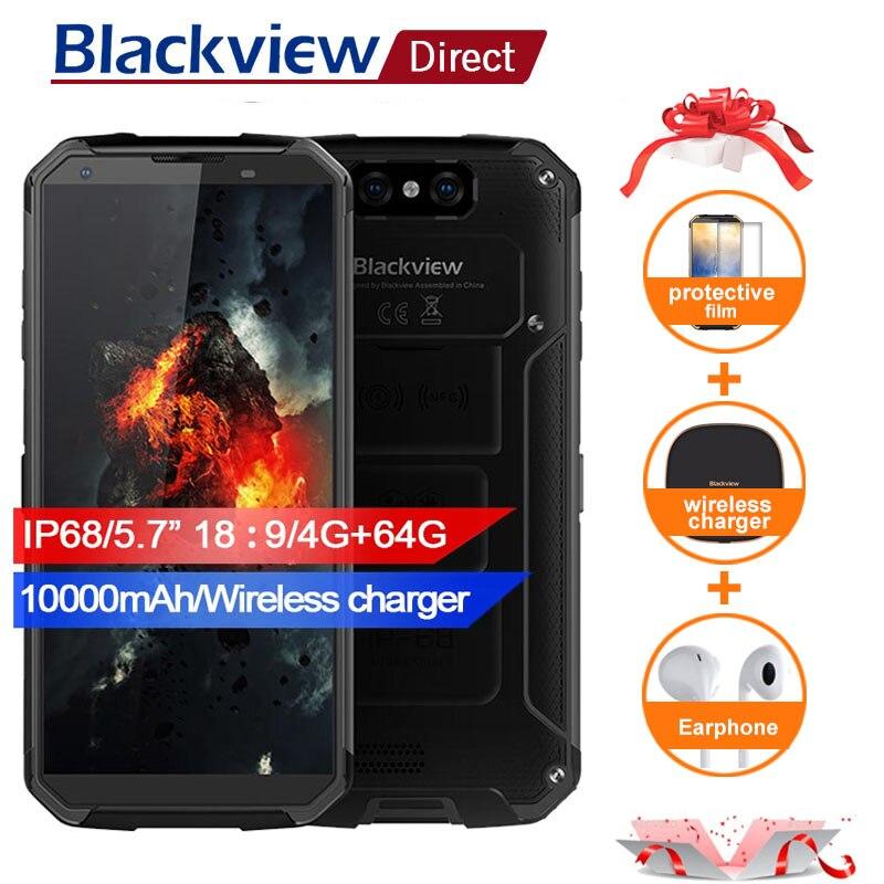 Blackview BV9500 10000 мАч IP68 Водонепроницаемый 16MP Камера NFC Беспроводной зарядное устройство 5,7 18:9 4G смартфонов 6 4G MT6763T Android 8,1