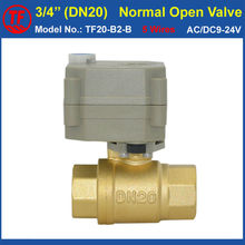 "CE, IP67 BSP/NPT 3/4"" 2-Way Normal Open Electric Ball Valve With Manual Override AC/DC9-24V 5 Wires Brass DN20 Actuated Valve"
