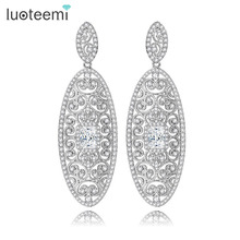 LUOTEEMI Female Fashion CZ Micro Pave Europe Retro Hollow Out Big Size Heavy Drop Earrings For Women High Quality Brinco Bijoux