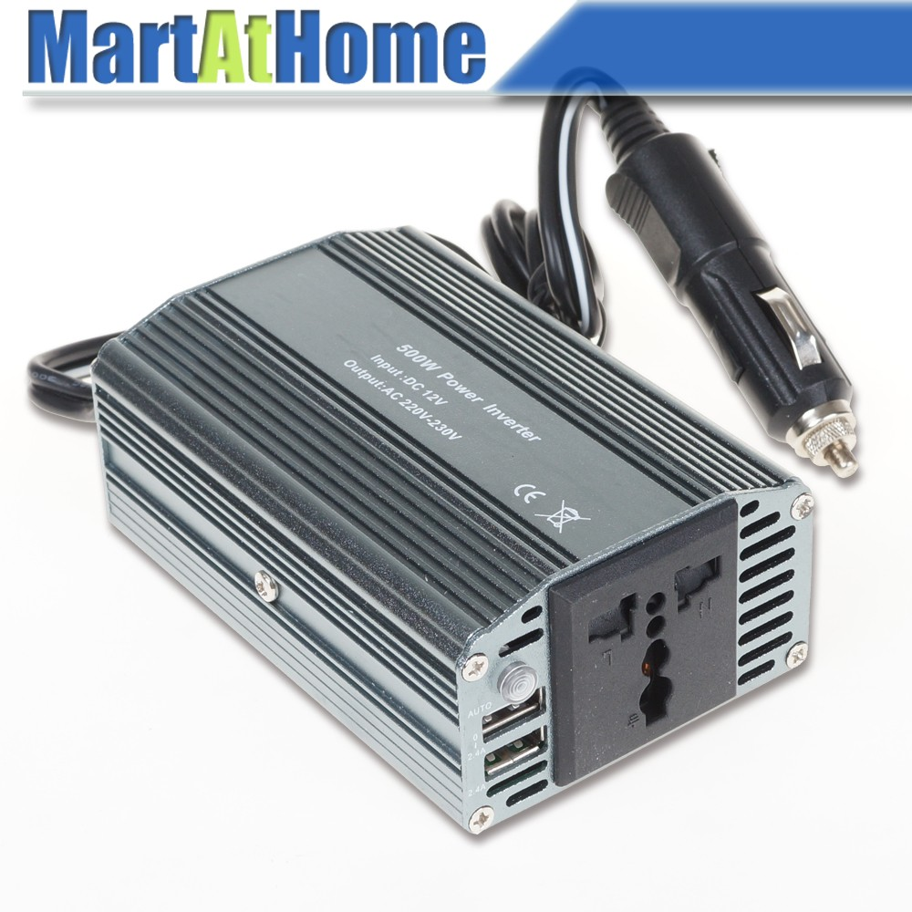 Free Shipping 500W 12V DC to 220V AC Travel Car Auto Power Inverter Modified Sine Wave with Outlet & 5V 2.4A 2 USB Ports @CF solar power on grid tie mini 300w inverter with mppt funciton dc 10 8 30v input to ac output no extra shipping fee