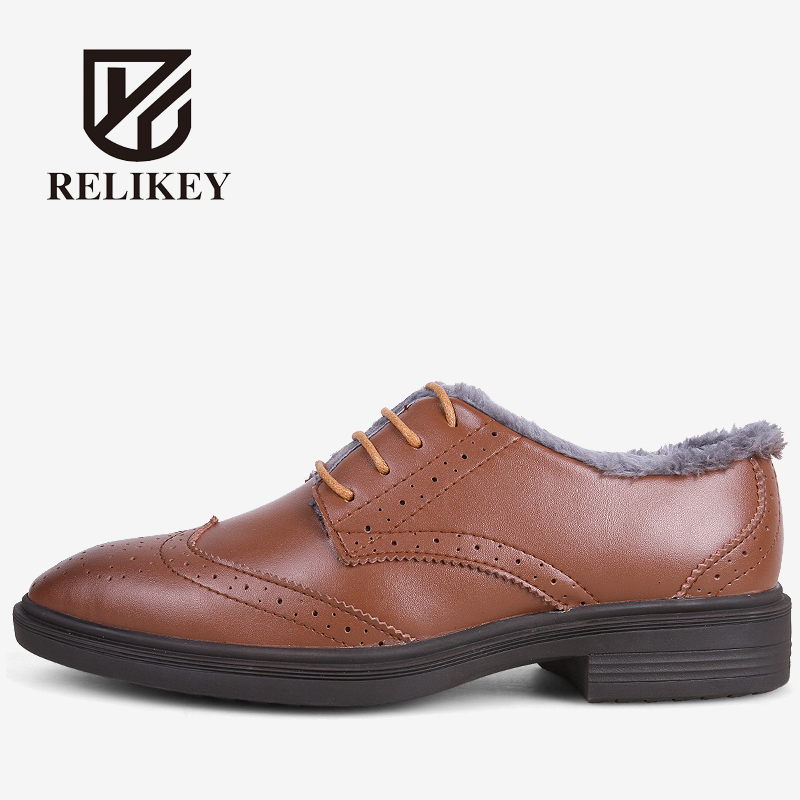 RELIKEY Brand top quality Fashion Men Dress Shoes,Bullock style Winter Warm Male Oxfords,Lace-up Soft Leather Flats for Men relikey brand men casual handmade shoes cow suede male oxfords spring high quality genuine leather flats classics dress shoes