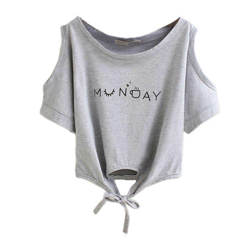 2017 Summer Women T-shirt Elegant Letter Shoulder Off Print Crop Top Short Sleeve O-neck Shirt Loose Tops
