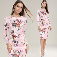 womens ladies Designer printed angel pink Ruched runway office Work wear Business Party Cocktail Sheath Dress dresses for women