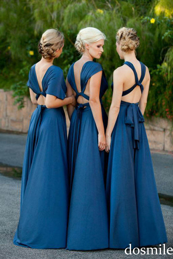 2016 beautiful elegant chiffon royal blue bridesmaid ...