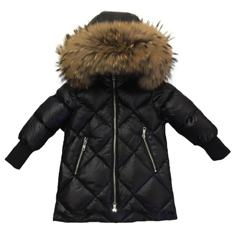 Children Outerwear Winter Jackets Coats Girls Warm Thick Down Jacket Kids Hoodie Big Fur Clothes Russia