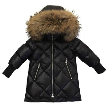 Children Outerwear Winter Jackets Coats Girls Warm Thick Down Jacket Kids Hoodie Big Fur Clothes Russia Winter Snow Wear Parka