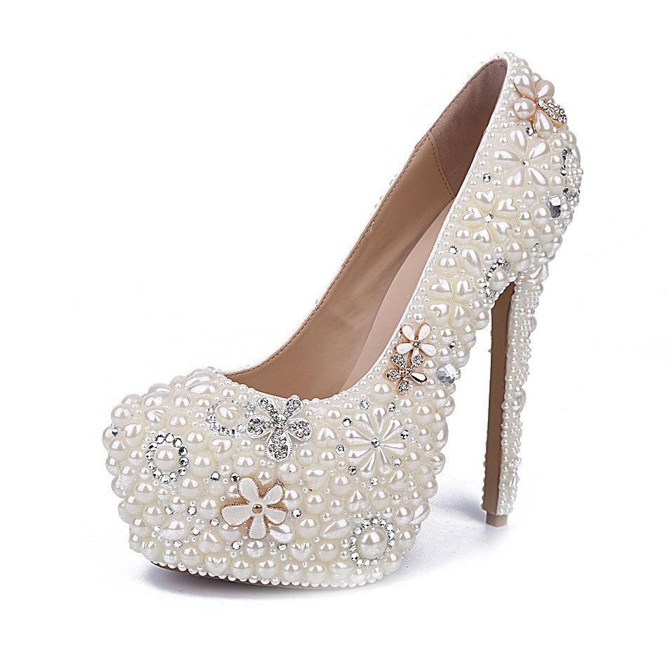 MA0435 di Nuovo Modo Bianco Perla di Acqua di Fiori di Diamanti Bianco Ultra Tacchi alti Impermeabile Damigelle Scarpe Da Donna Pompe