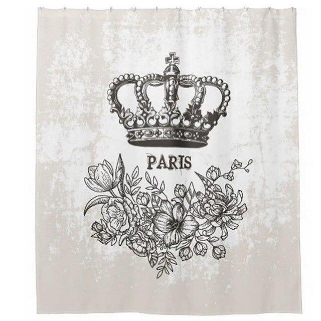 Romantic Paris Shower Curtains Hooks Bathroom Curtain Waterproof Fabric Polyester Bathing Home Decal Bath Decor
