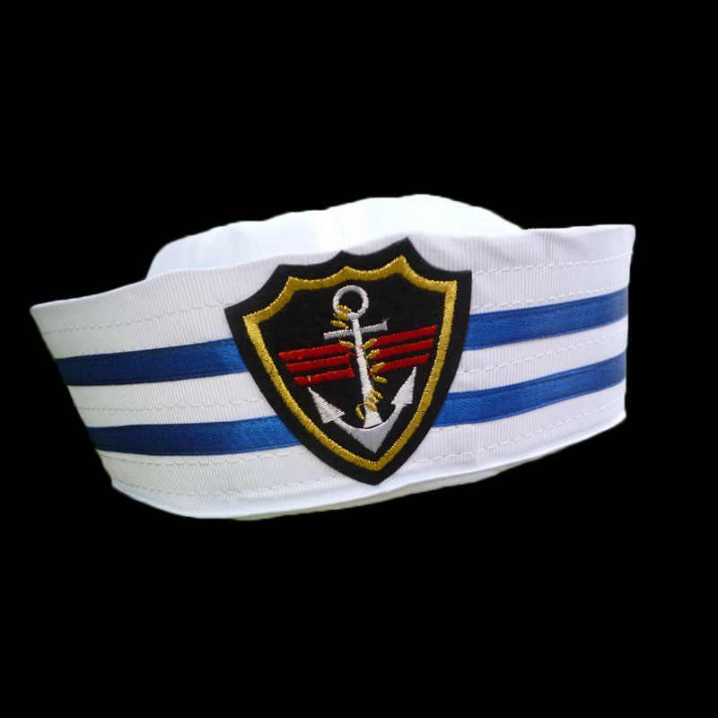 Adult White Doughboy Cap Hat Emblem Sailor Marine Fancy Dress Costume