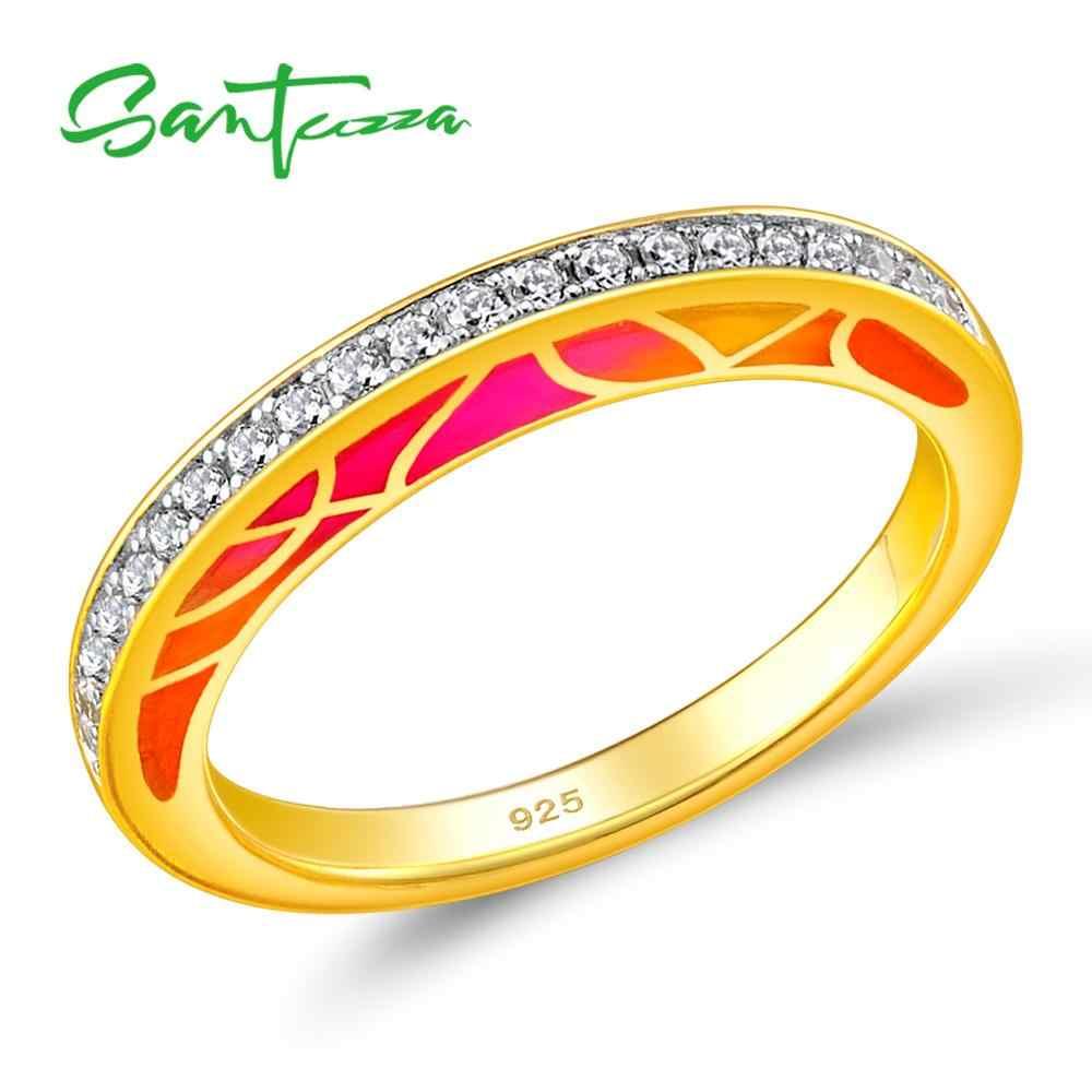 Santuzza Nhẫn Bạc Nữ Authentic 100% Bạc 925 Màu Vàng Đá Cz Lấp Lánh Thời Trang Trang Sức Nữ Men Handmade