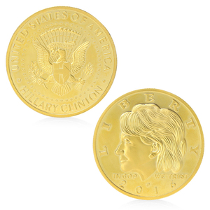 Hot Selling Golden Silvery Hillary Clinton In God We Trust Commemorative Challenge Coin Gift APR25