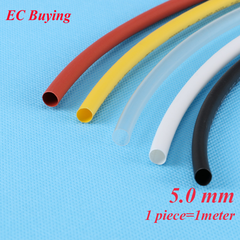 1m /pcs 5mm Heat Shrink Tubing Wire Wrap Heat-Shrink Tube 2:1 Thermo Jacket Insulation Matierial Black White Yellow Clear Red image