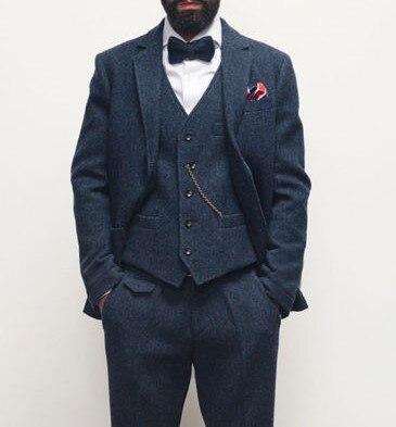 Mariage Gilet Rétro Pantalon noir As ardoisé 3 Dernières Tweed Slim Fit Picture Costume veste Robe Hommes Color Chevrons De custom À Motif Pièce waAHqz