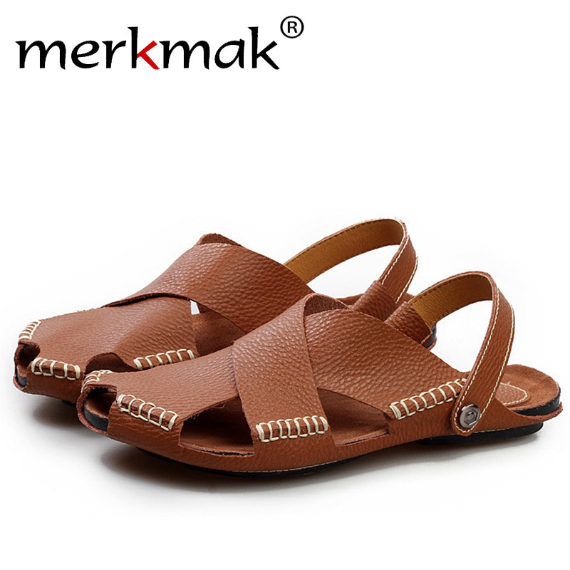 Merkmak Fashion Summer Beach Men Sandals Genuine Leather Breathable Man Flip Flops Shoes Casual Comfortable Male Flats Dropship