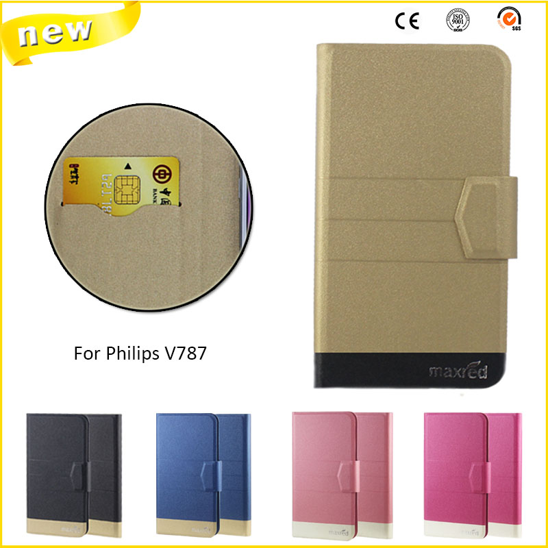 2016 Super! For <font><b>Philips</b></font> <font><b>V787</b></font> Case, 5 Colors High quality Full Flip Fashion Customize Leather Luxurious Phone Accessories image