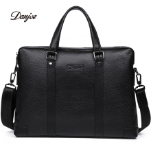 DANJUE 2017 Men Business Briefcase Genuine Leather Handbag Shoulder Bag High Quality Brand Computer Laptop Bag Totes