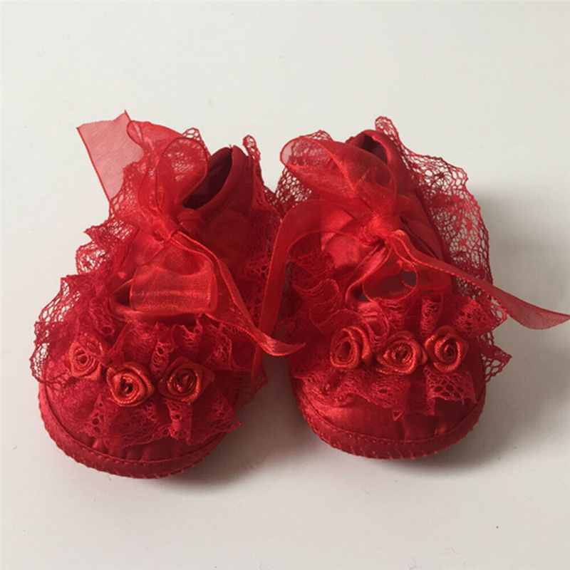 Cute Infant Newborn Baby Girl Shoes New Arrival Princess Non-Slip Lace Prewalker Fashion 3D Flower Toddler Baby Girl Crib Shoes