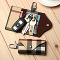 2016 Fashion Plaid Multifunctional Key Wallet Holder Men/Women Keychain Car Keys Bag Leather Buckle Key Wallet Case