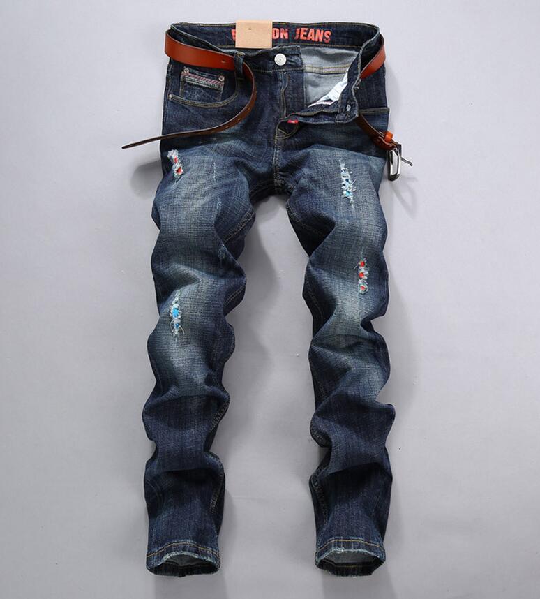 ФОТО 2016 New Mens Biker Jeans Male Brand Designer Cargo Jean Trousers Pants Multi Pockets Slim Fit Pleated Motorcycle Denim Joggers