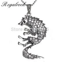 Hot Crystal Wolf Totem Pendant Necklace