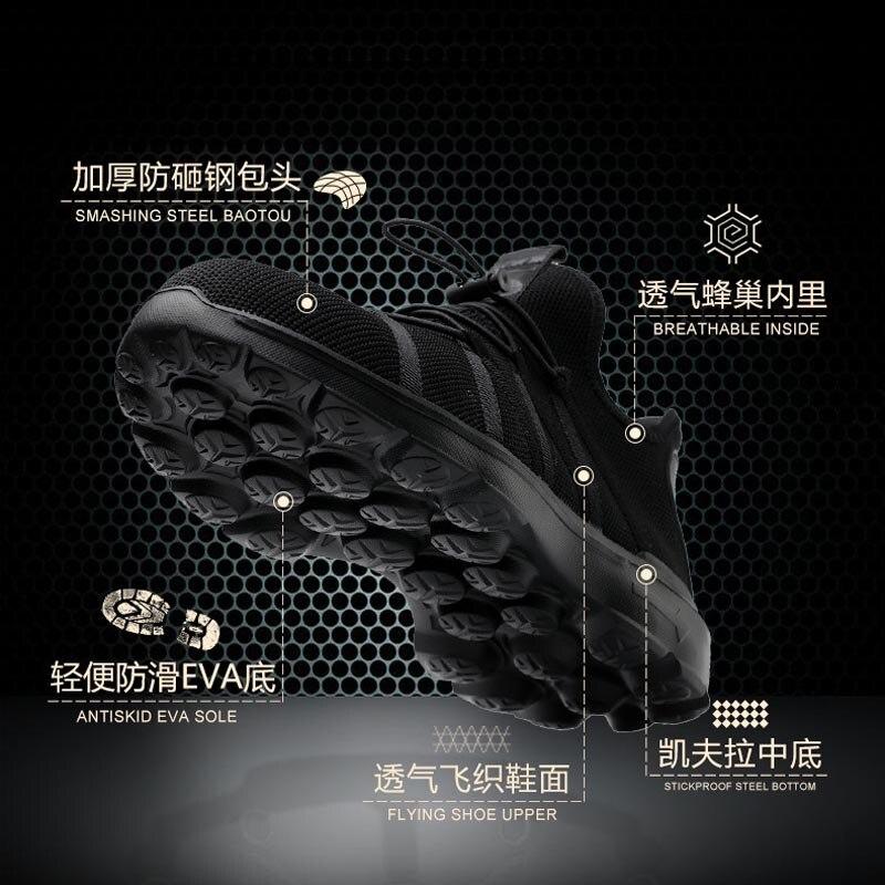 Piercing Maille perforation Protection tissé Chaussures Tissu Tête Sécurité Voler Noir Semelles De En Acier Anti Doux afBavzq