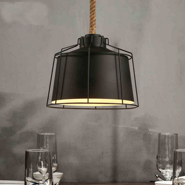 Loft American Retro Rope Restaurant Living Room Chandelier Personality Creative Country Clothes Store Chandelier Free Shipping nordic american country retro industrial loft restaurant bar creative personality living room small metal frame lamp chandelier