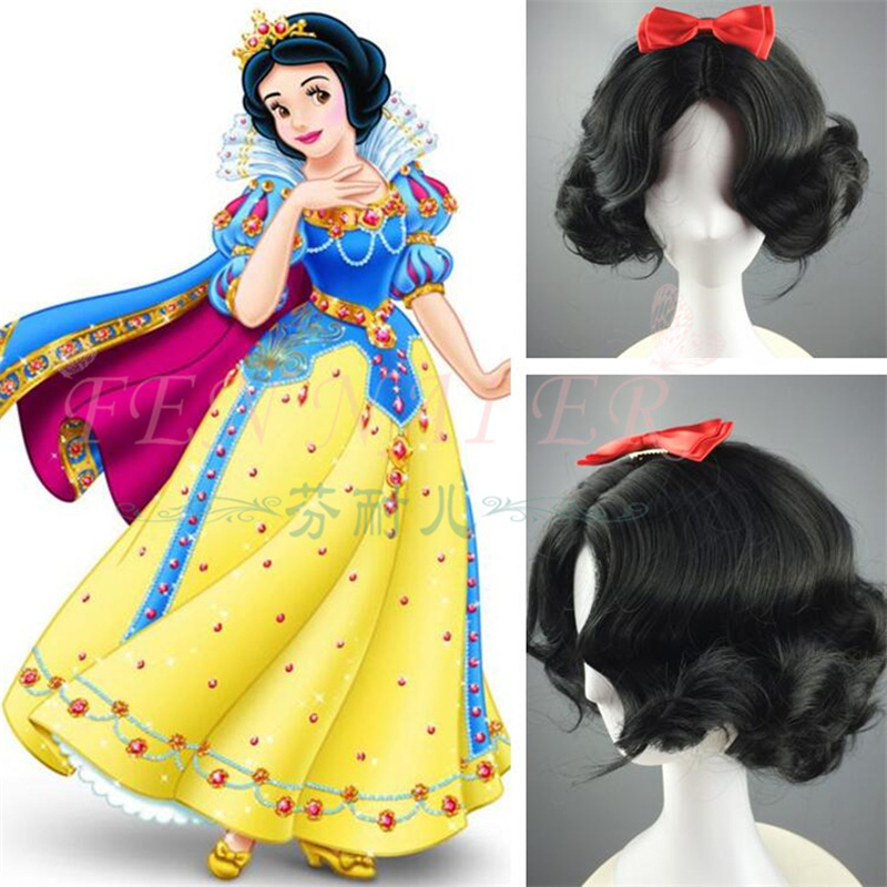 Princess Snow White Black Wig Curly Hair Short Wavy Wig Cosplay Halloween Role Play With Bowknot + Wig Cap