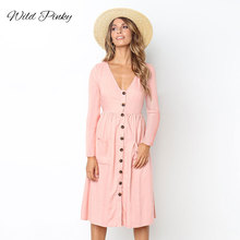 WildPinky New Fashion Solid Beach Summer Dress Women 2019 Cotton Deep V Neck Buttons Spring Long Sleeve Midi Dresses Vestidos