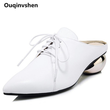 Ouqinvshen Shoelaces Mules High Heels Pointed Toe Black Genuine Leather Casual Concise Women Slippers Strange Style Summer Shoes
