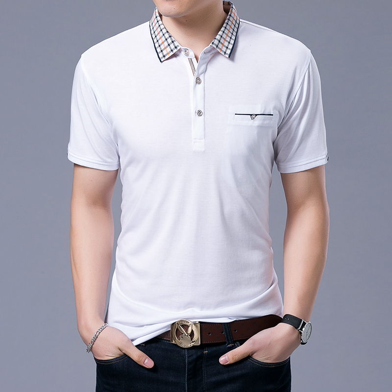 2019 New Fashion Brand   Polo   Shirts Men Plaid Collar White Summer Short Sleeve Slim Fit Top Grade Poloshirt Casual Men Clothing