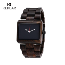 Original Design Svart Sandelträ Mäns Armbandsur Casual Wooden Watch Top Band Luxury Japan Movement Watch som presentartiklar
