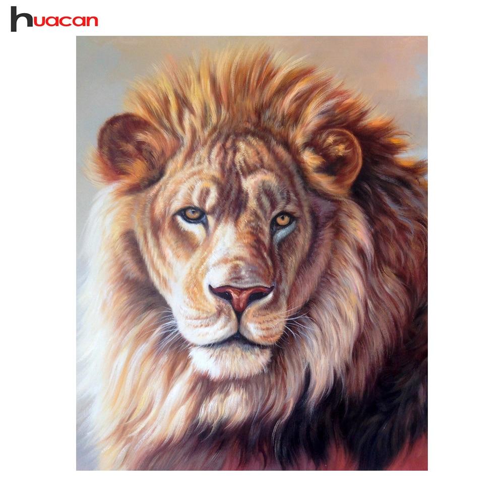 HUACAN la pintura diamante bordado León bordado bricolaje 5D diamantes  mosaico Cruz puntada regalo Festival pared 462a35896a38