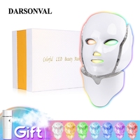Darsonval 7 Colors Led Face Neck Mask Facial PDT Led Light Therapy Photon Phototherapy Device Whitening Wrinkle Acne Skin Care
