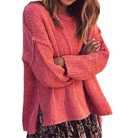 Classic Popular Womens Autumn Winter Knitted Shirt Pullover Split Long Sleeve O Neck Sweater Top Ladies