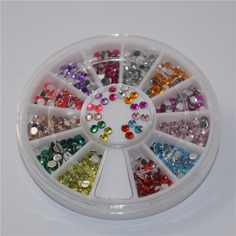 12 Design Mixed Round flat Diamond Glitter 3D Nails Art Jewelry Decorations Charms Manicure Charms 3D Nail Art Decorations YP022 24 pcs chic mixed pattern design nail art fake finger nails
